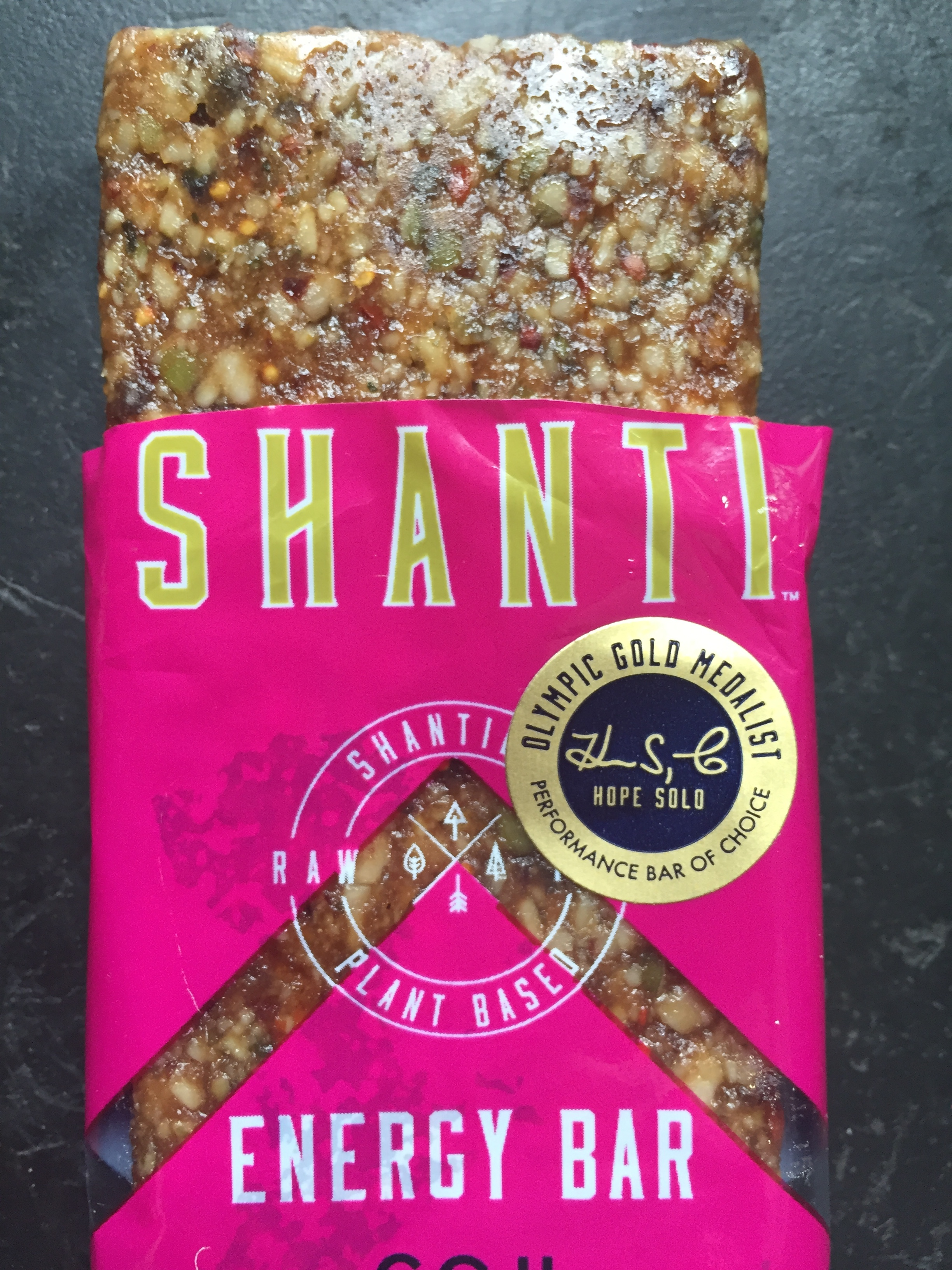 Shanti energy bar in with goji, sweet berries and hemp.