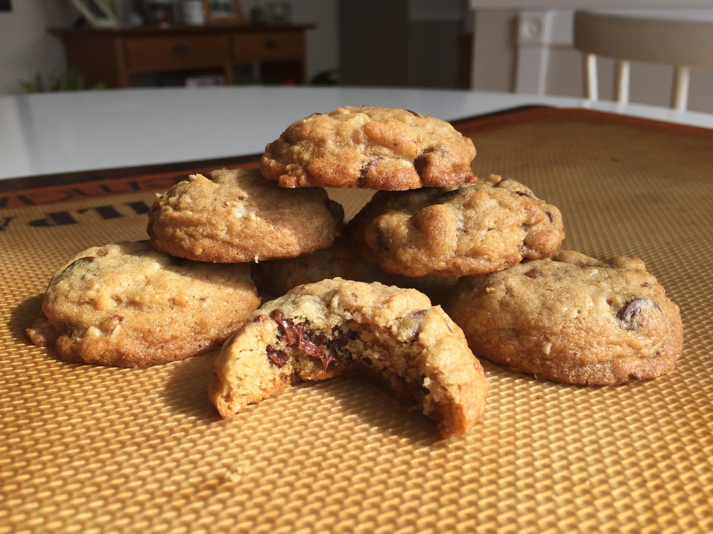 Sorta Healthy Chocolate Chip Cookies. Also sorta gluten free.