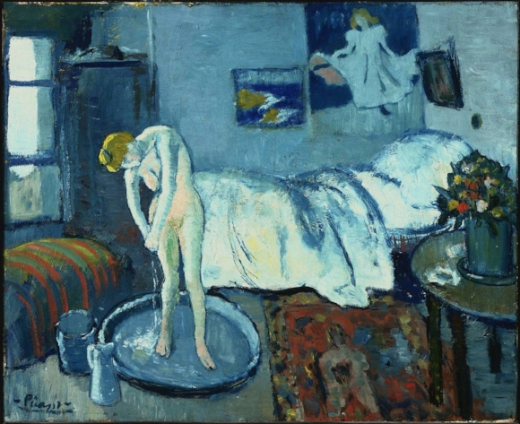Picasso's Blue Room. There's another painting hidden underneath. A portrait of an old man resting his head in his hands.