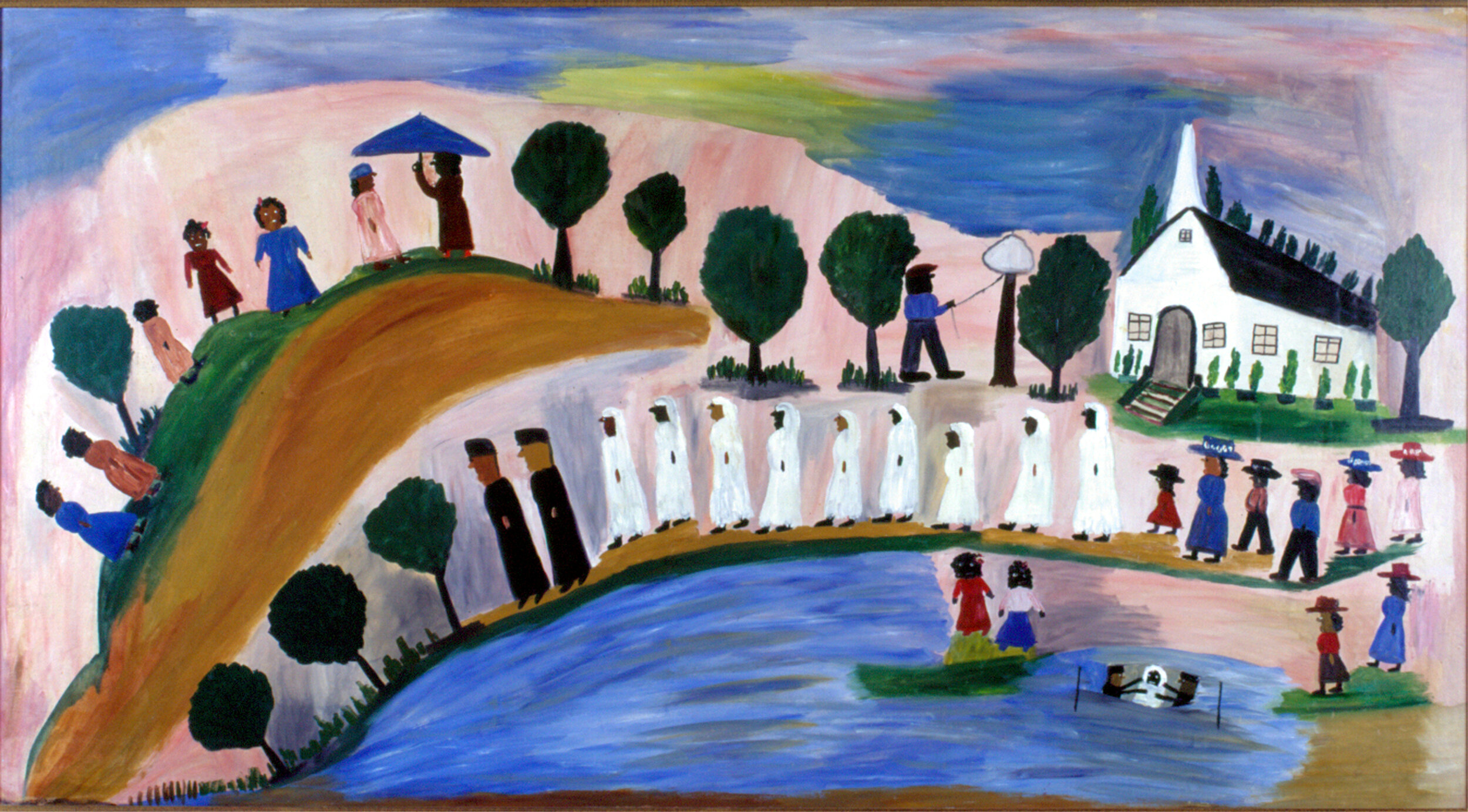 Panorama of Baptism on Cane River by Clementine Hunter, 1945