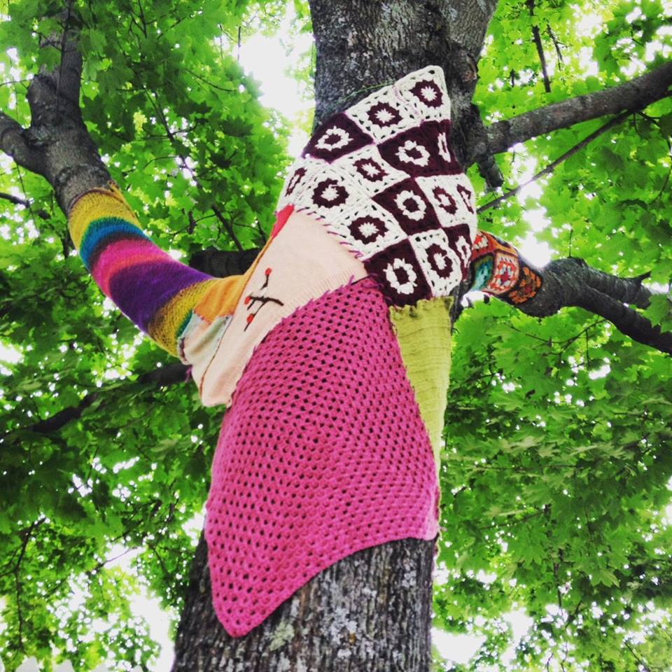 We yarn bomb the town every July!