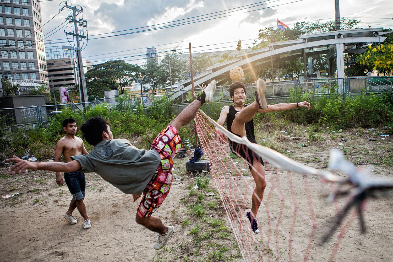 A scene during an amateur match of Sepak Takraw. Bangkok-Thailand