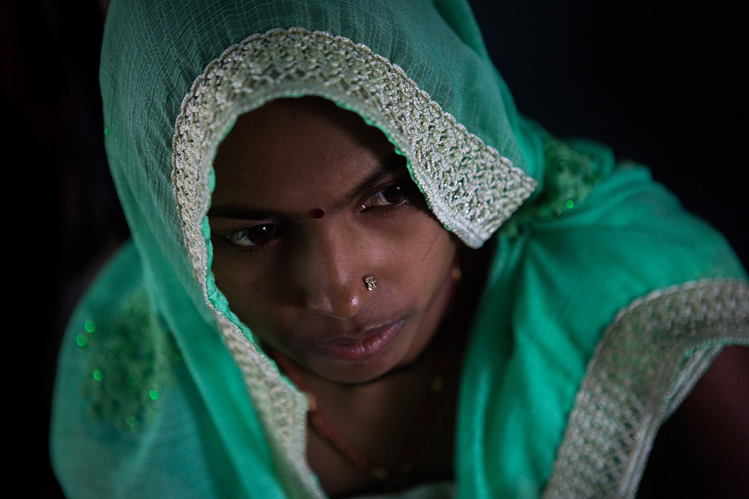 Portrait of a woman on a train. India