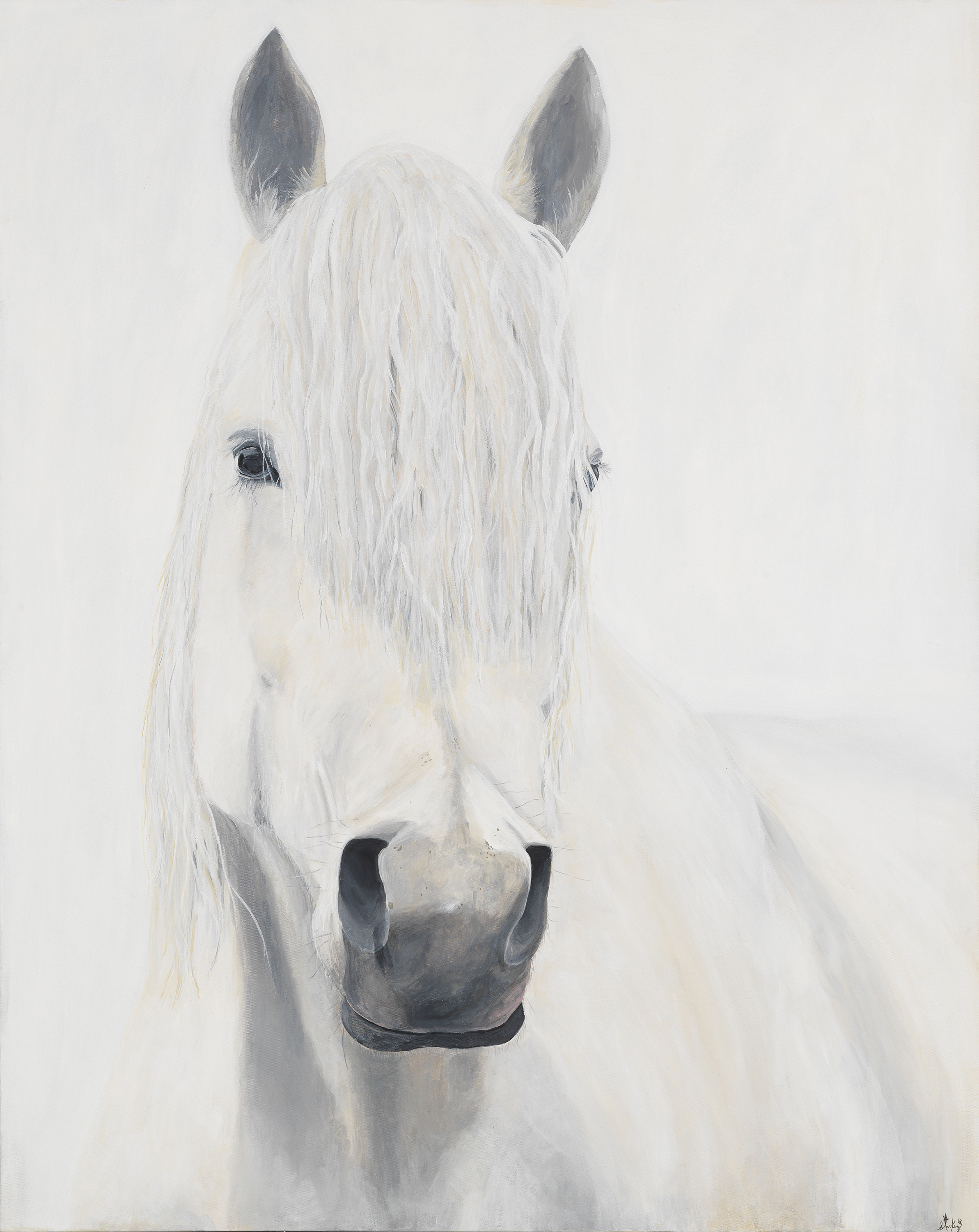 4 ft x 5 ft GREY ON WHITE  Acrylic on canvas.