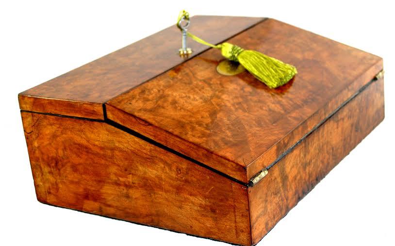 Burr walnut writing box restored and polished by Dawn