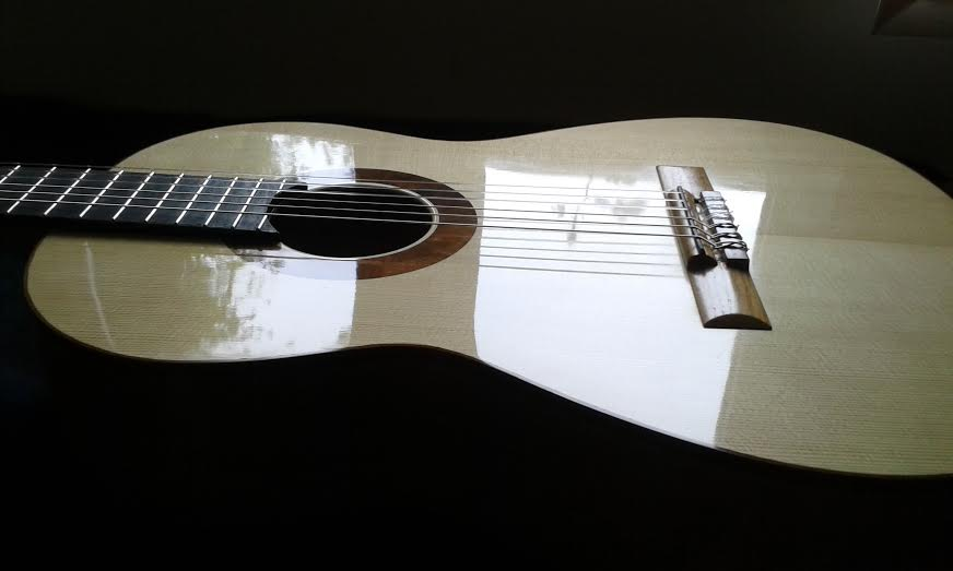 Guitar after French polishing with ultra blond shellac