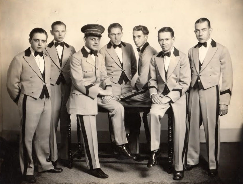 Left to right: Victor Goodchild, Henry Boucher, George Elmore Small (Doorman and Chief of staff), Frank Munro, Ronald Dennett, Leon Small, Ronaldo Poulin.  This image is from the photographic collection of the Kennebec Historical Society.