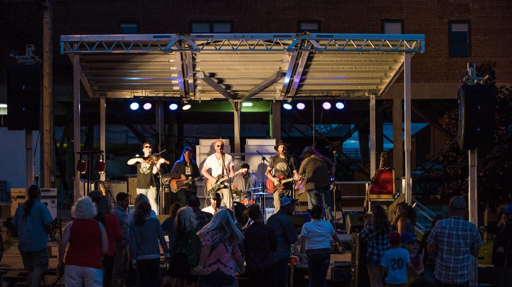 The Mallett Brothers Band performing Downtown Augusta to benefit the Colonial. Photo by Dave Dostie.