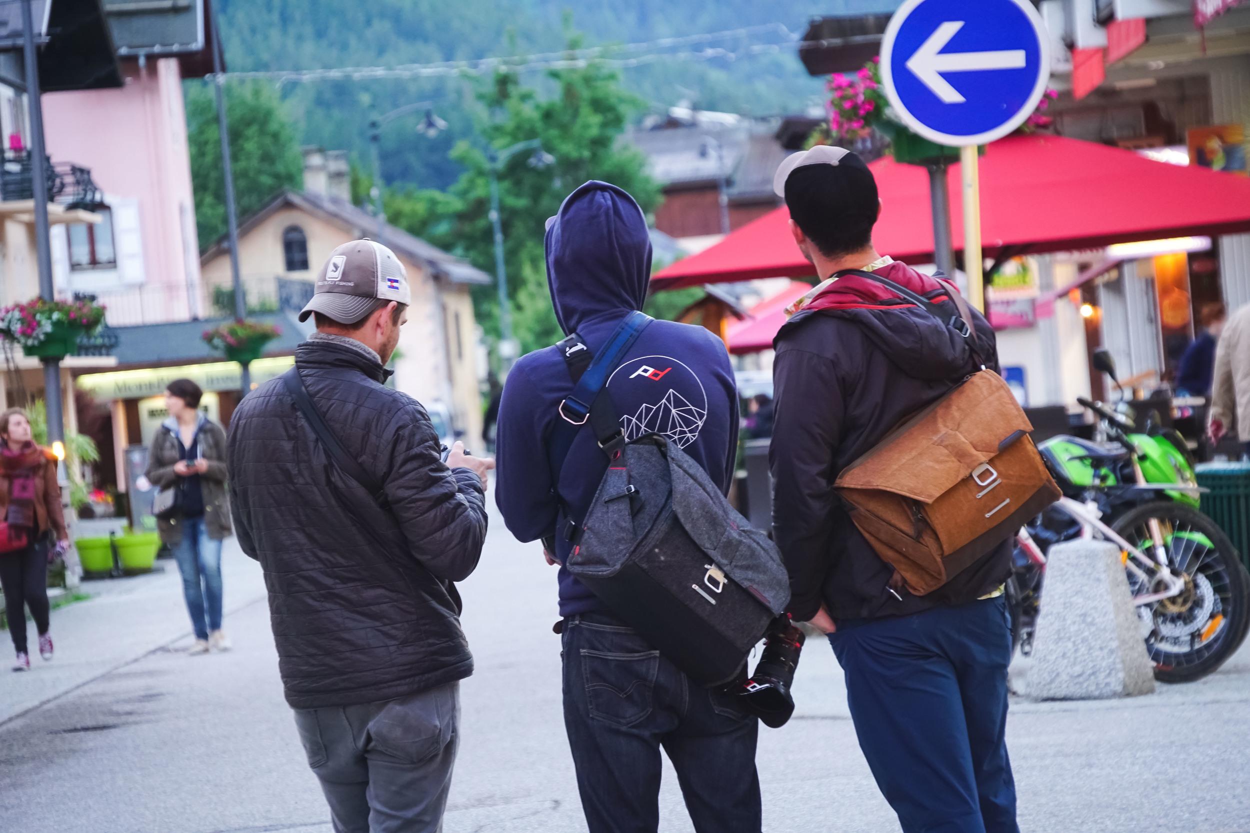 My EDM & I (centre).  Flanked by PD heroes Ryan Dulon (L) & Luke Roberts (R) in Chamonix // pic: Peter Dering / Peak Design