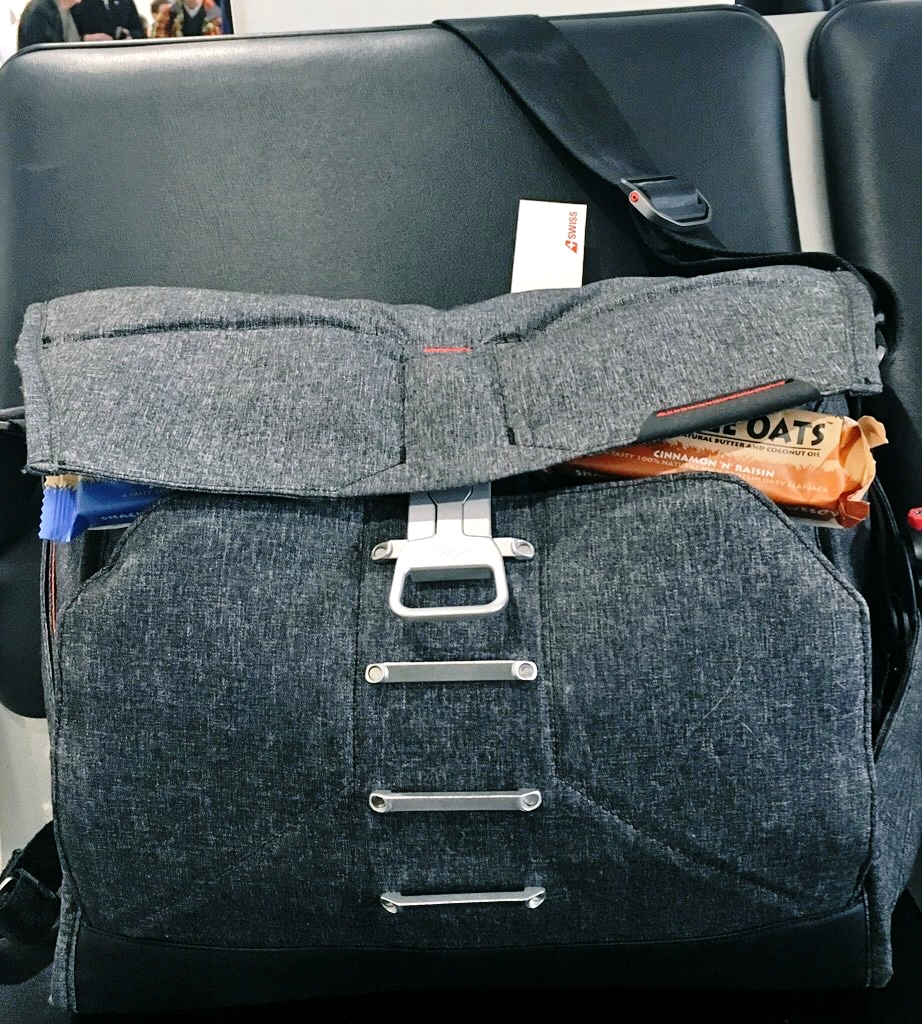 My EDM. Stuffed to the brim for one of my many flights this year, MagLatch™ allowing the bag to expand to meet my needs. This bag still fit beneath the seat in front of me on the plane too. Perfect if you're not in the aisle seats.