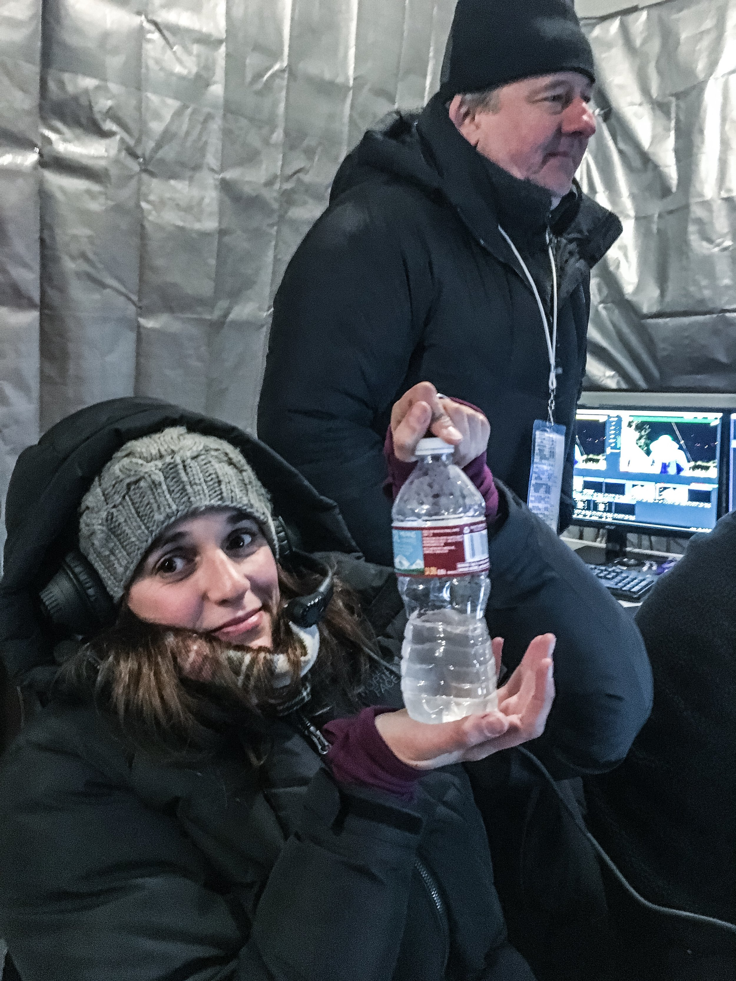 Producer Ale with a frozen bottle of water. Shit gets cold at the Ice Climbing World Cups. Clue is in the name I guess. Main Man Dave in the background. © Liam Lonsdale 2016