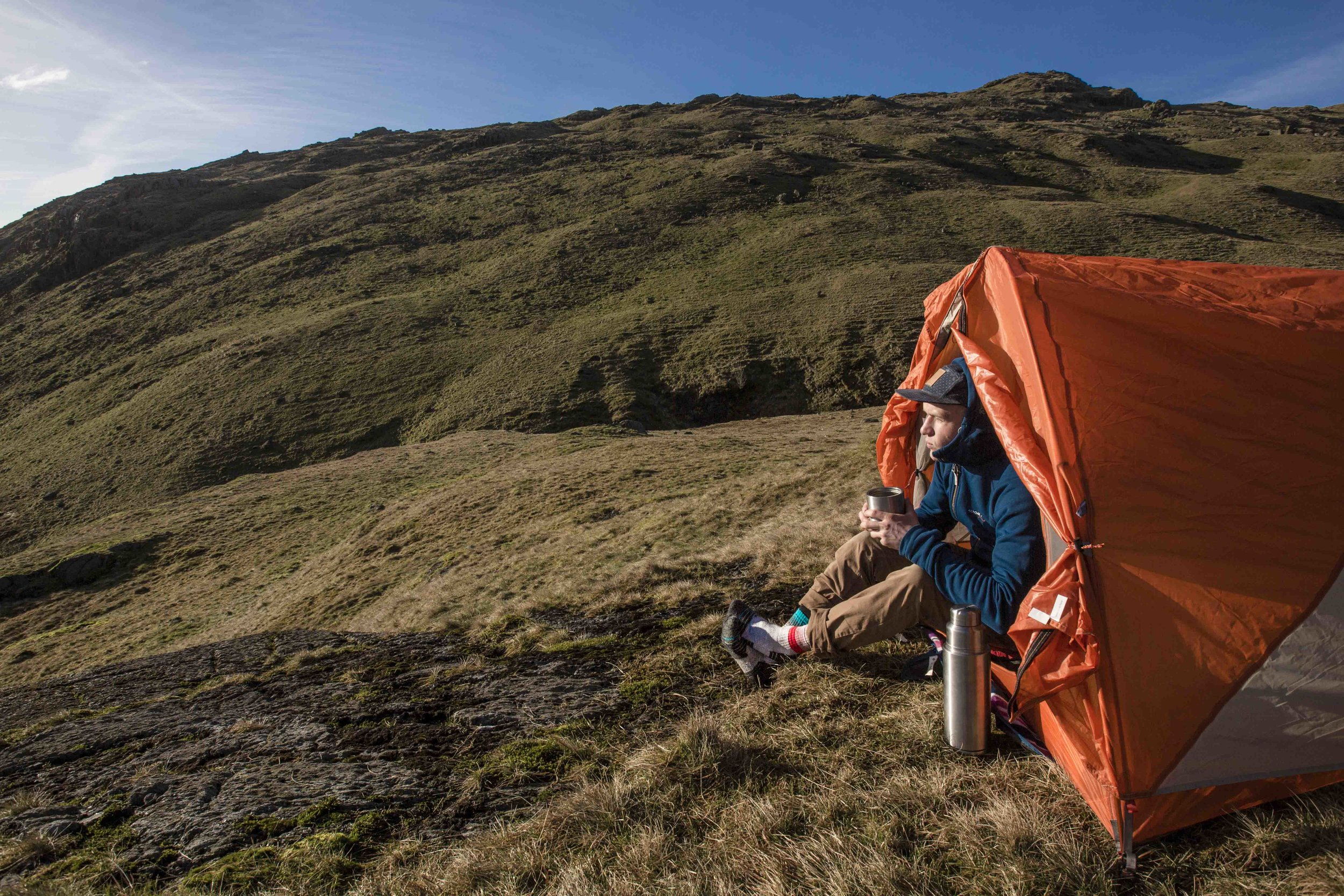 Tent - check. Stunning landscape - check. Excellent coffee - you better bloody believe it.   © L LONSDALE 2017