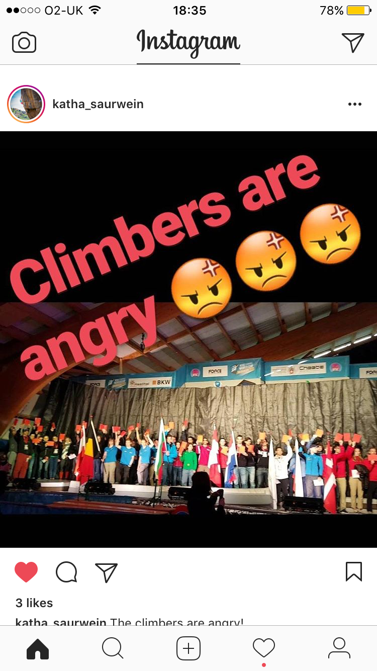 Seeing red. The IFSC Boulder World Cup opening ceremony got off to a feisty start, with all of the athletes displaying their disapproval of the recent announcement by showing 'RED CARDS'.