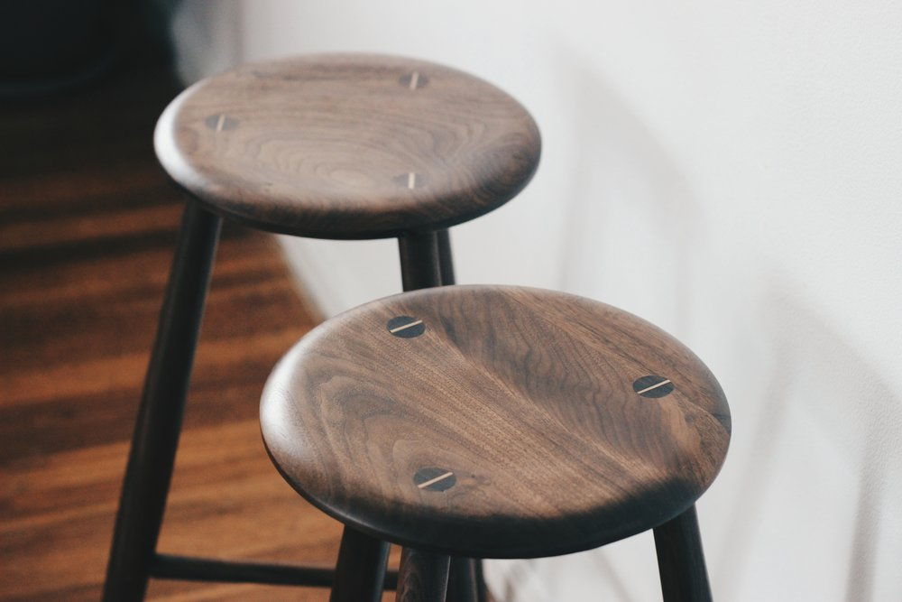 walnut counter stool -