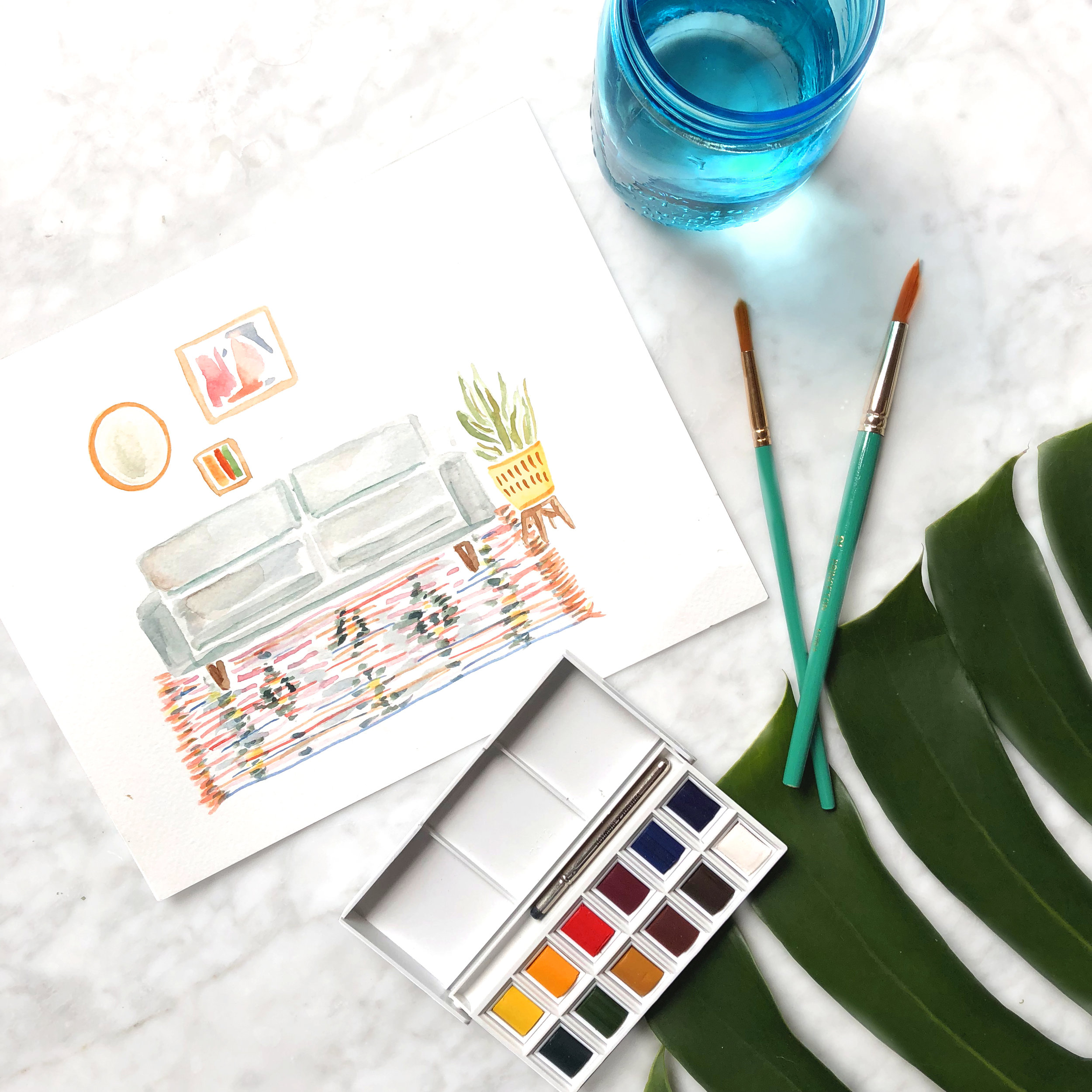 MID CENTURY MODERN WATERCOLOR WORKSHOP - WEST ELM DUMBO