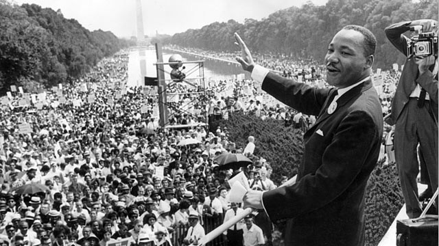 History in the making: Martin Luther King Jr. in 1963.