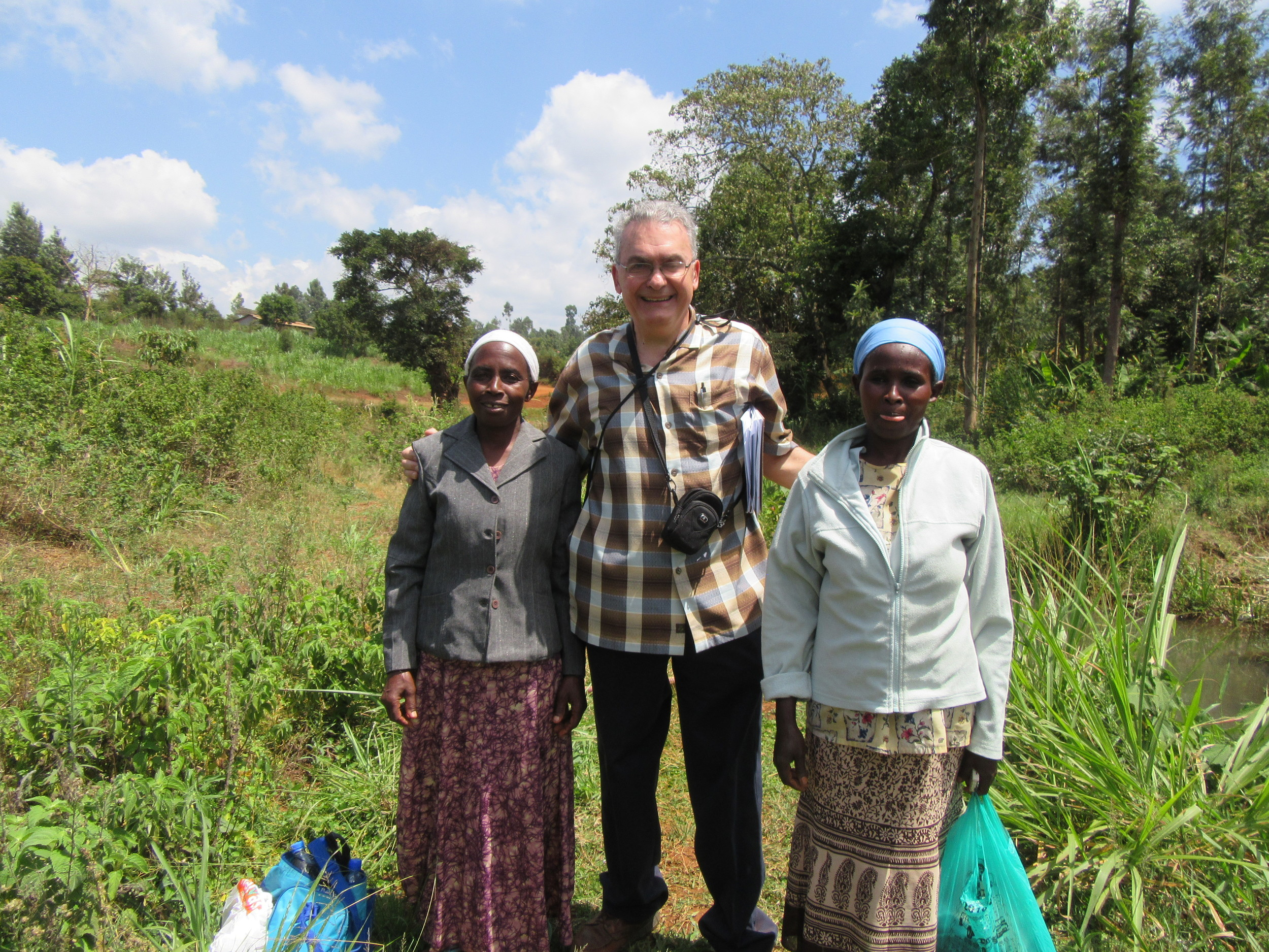 Elder Bob with Rose Njoki and Catherine Wanjori Murithi, prior to their  baptism.