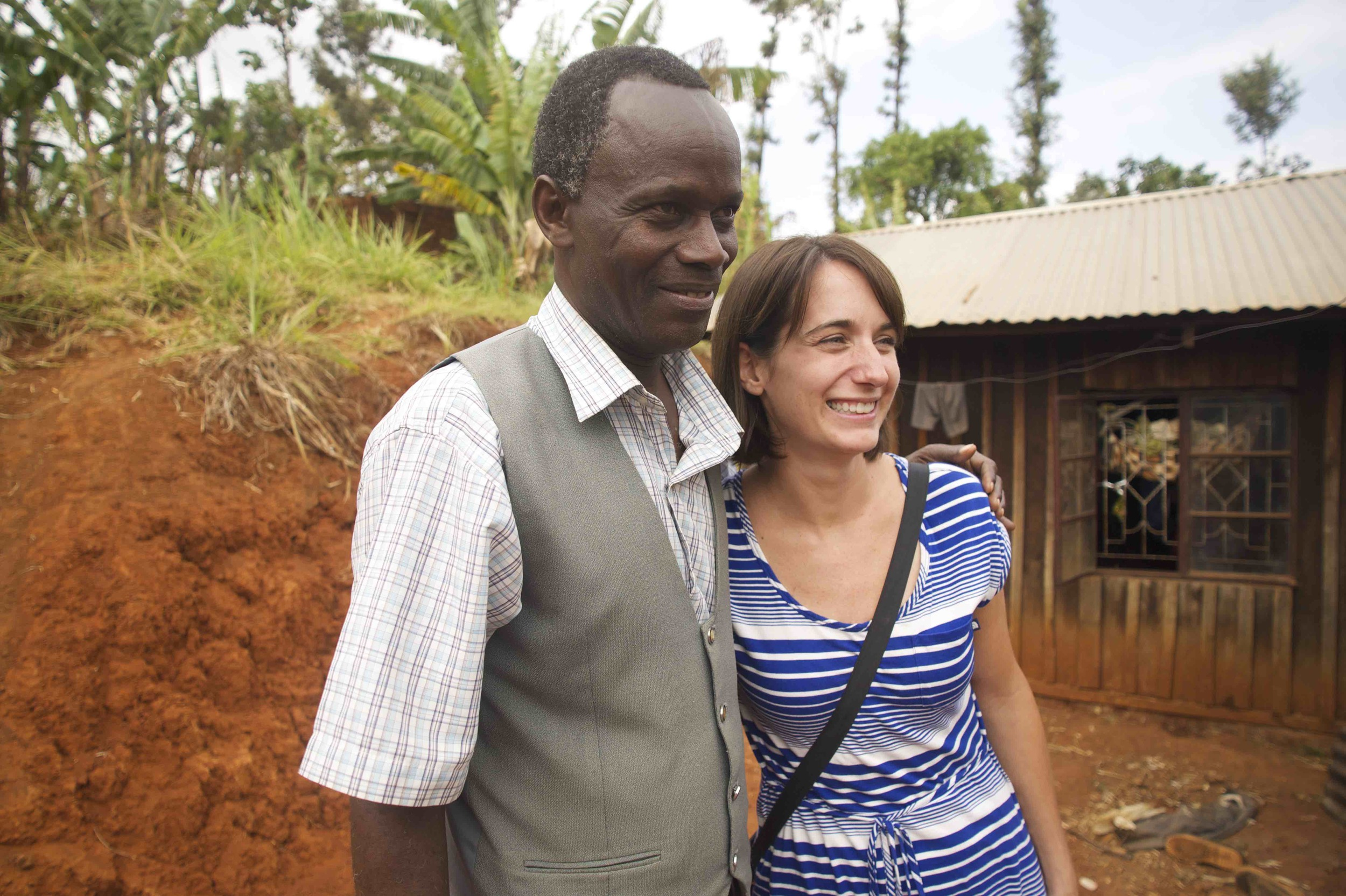 For the Good Period's Programs Director Molly Secor-Turner with longtime friend Josphat Tsuma Garama near the Faraja Family Resource Center in Chogoria. Josphat and his wife Millicent Garama have worked alongside Molly and her mother Sharon for nearly two decades to improve the welfare of underserved families in Chogoria.