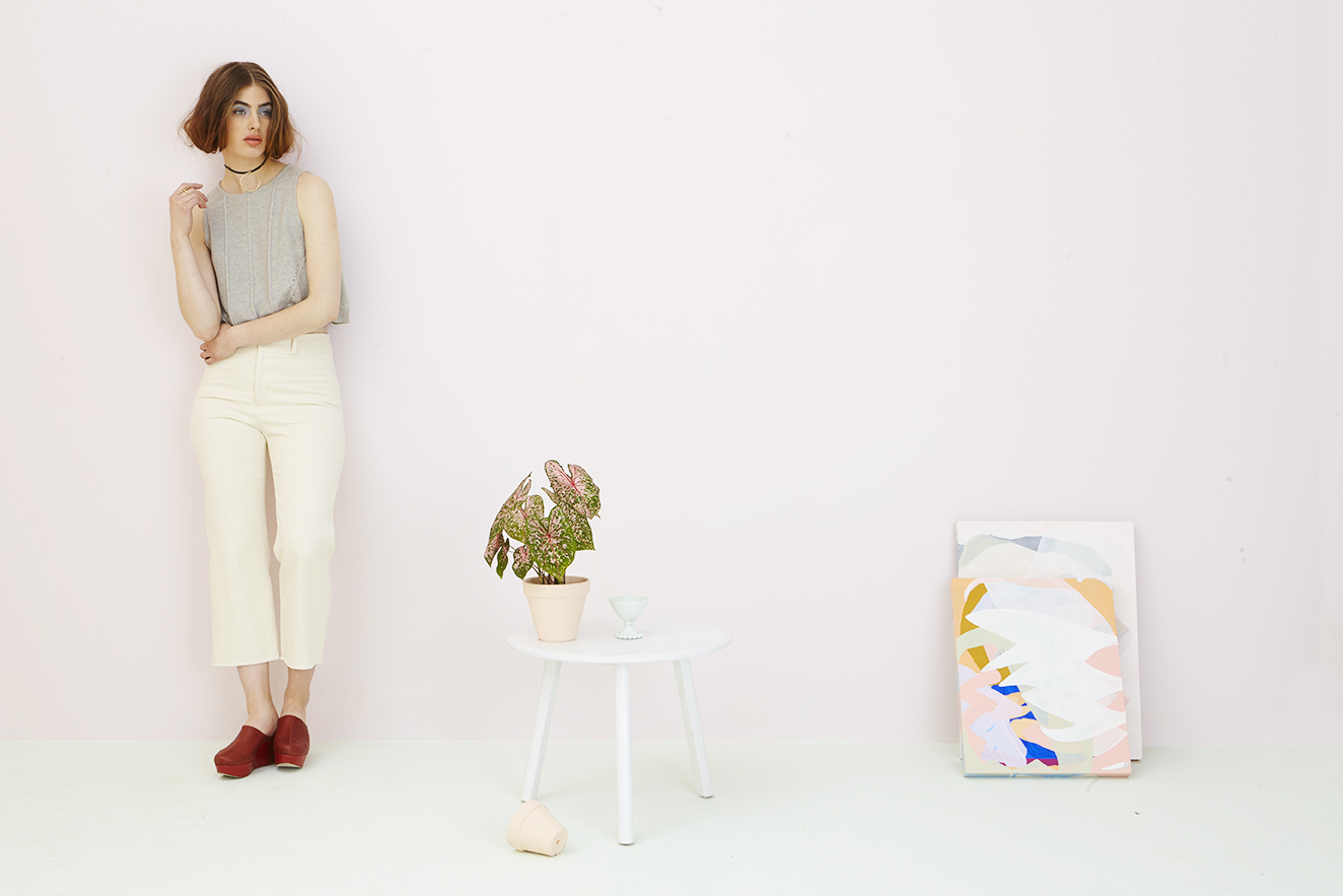 Spring lookbook for  Continuum Bazaar  featuring a bff Kit side table. photo by Brooke Shanesy