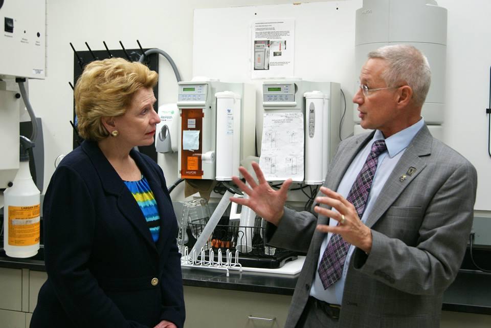 Senator Deborah Stabenow (D-MI) and Dr. Gary Dunbar during their visit