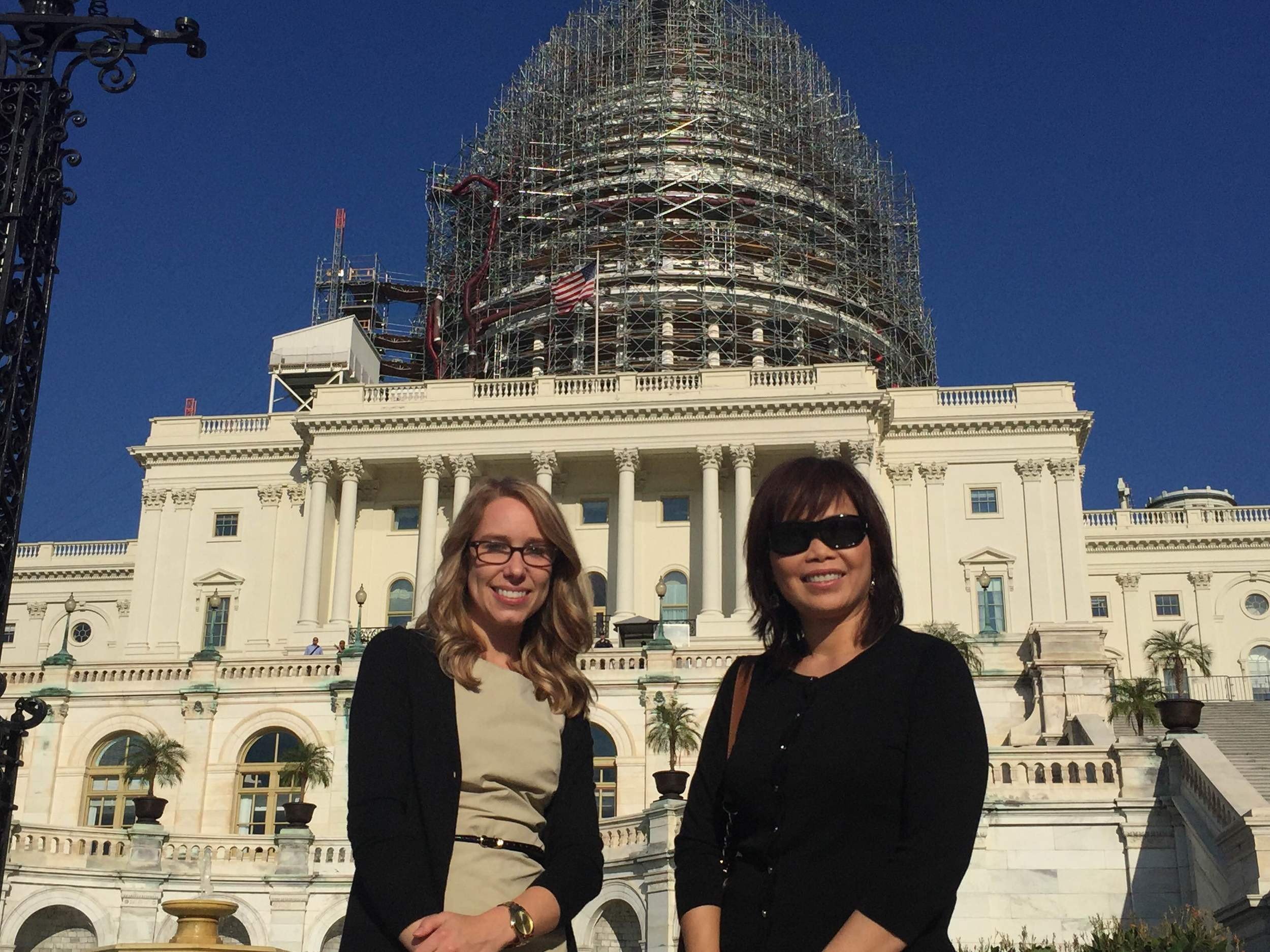 Graduate student Ashely Knapp from University of Arkansas and Dr. Maria Wong a professor at Idaho State University outside the U.S. Capitol building