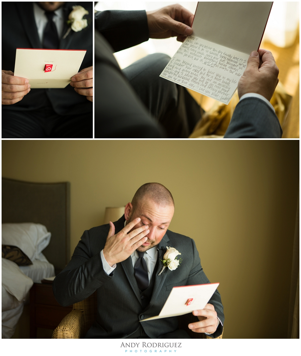Groom receives gift from bride