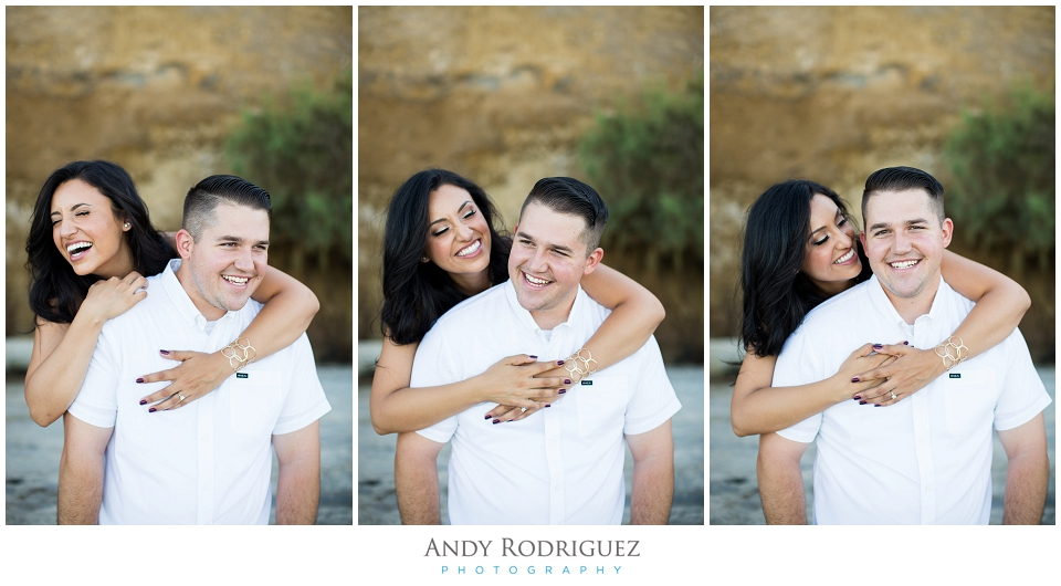 Bride and groom fun at Scripps Beach