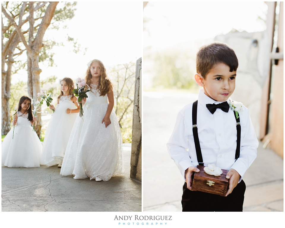 Flower girls and ring bearer at Wayfarers Chapel Wedding