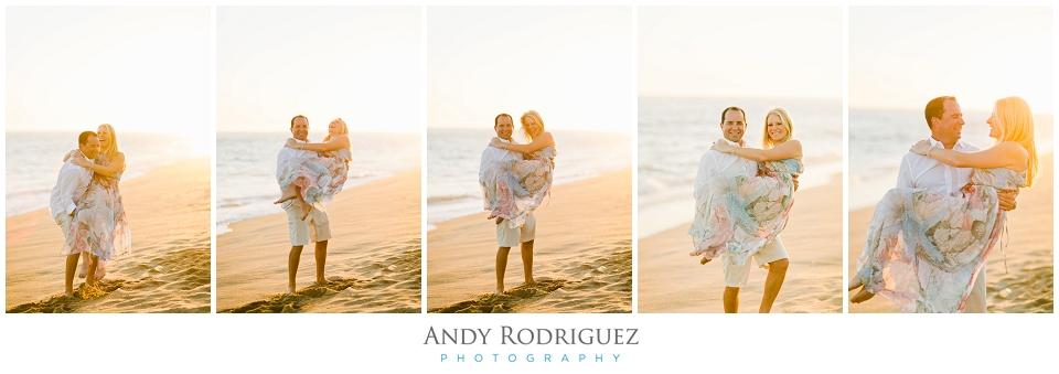 Groom picks up bride on beach