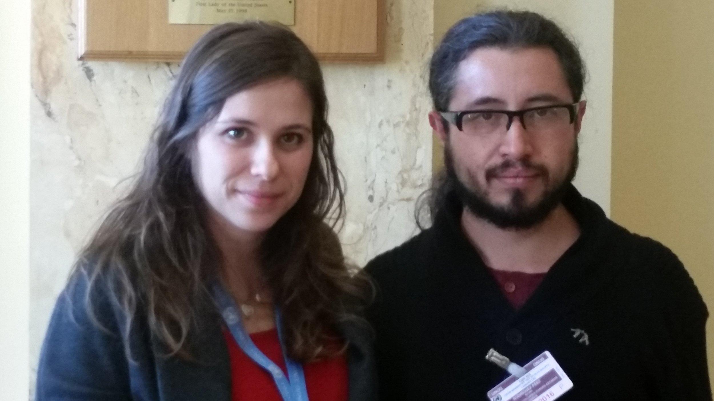 Martina Lanza with Nicolás Rodriguez a Colombian Conscientious Objector with the  Acción Colectiva de Objectores y Objectoras de Consciencia (ACOOC).