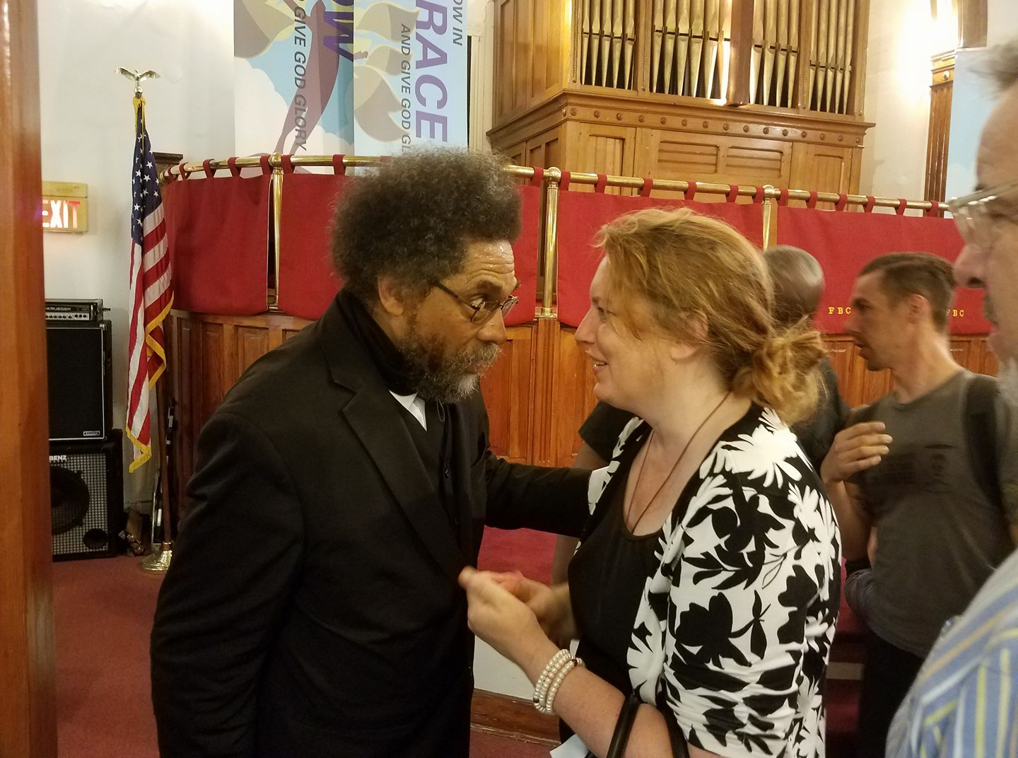 Dr. Cornel West and Stacey Mitchell during an organizing meeting in Charlottesville Virginia