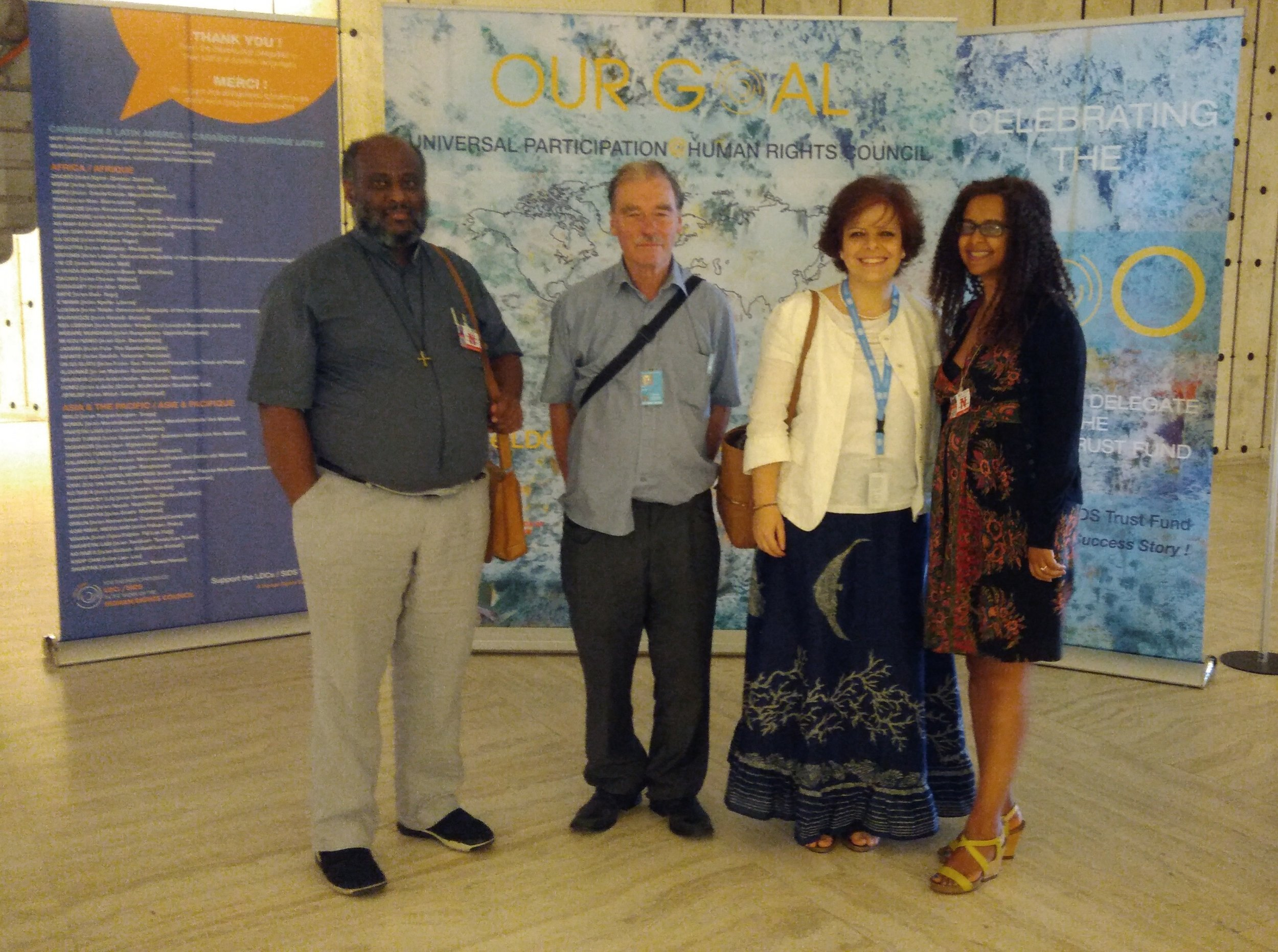 From the left Father Mussie Zerai, Derek Brett and Zaira Zafarana, the UN IFOR reps, and Selan Kidame, Eritrean-born psychotherapist and human rights activist, who was the second panellist.