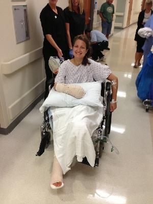 Taken less than 72 hours after my accident. Up and about, feeling strong! (and excited if you can't tell from my face)