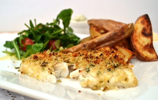 Crunchy Lemon and Chive Fish with garlic wedges 1.jpg