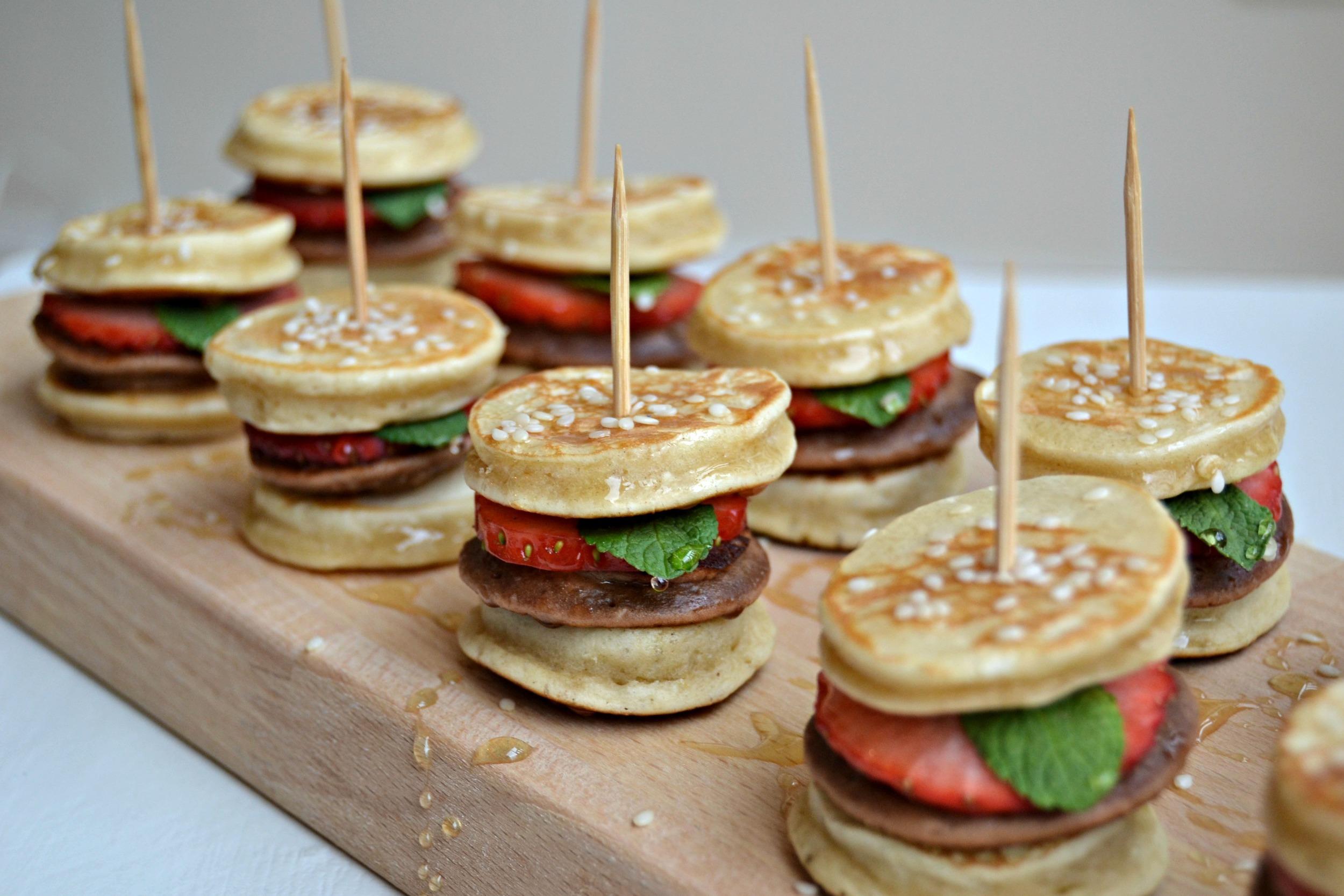 Mini Hamburger Pancakes. Foodmasquerading asother food.