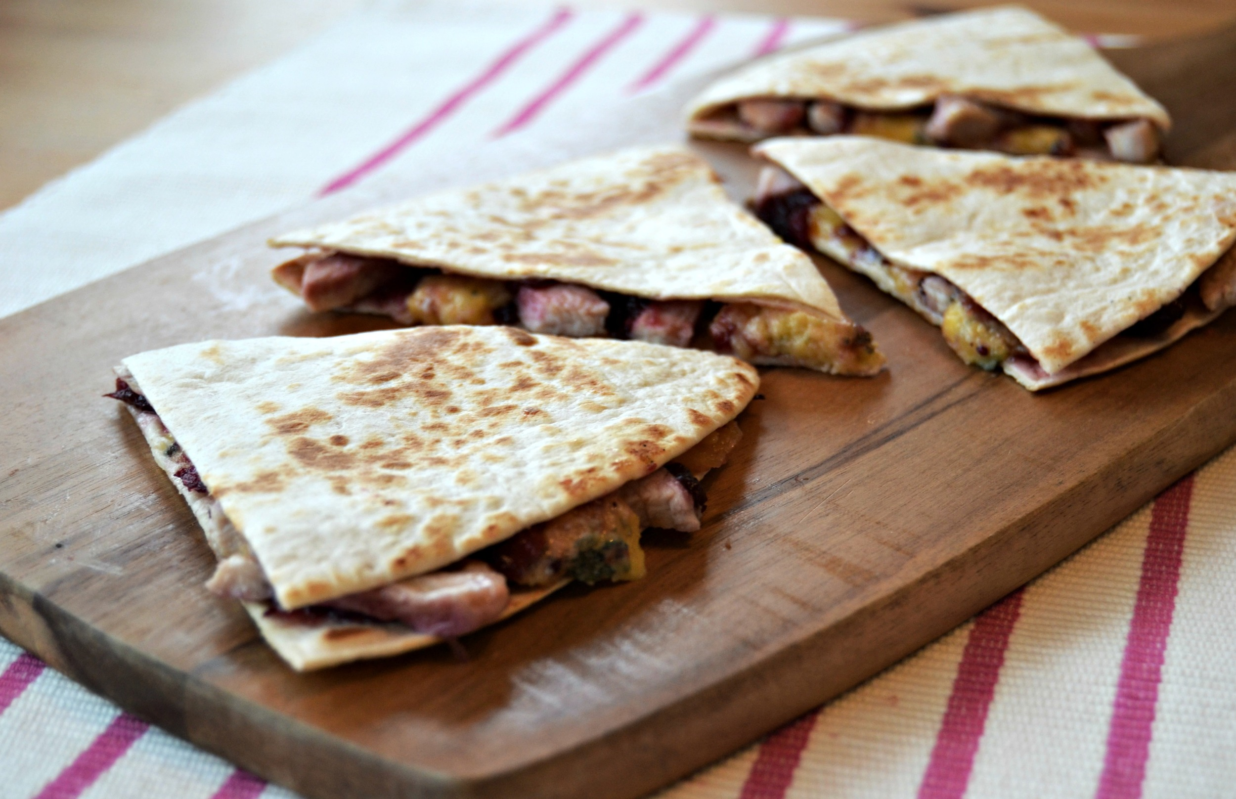 Leftover turkey cranberry and stilton quesadillas