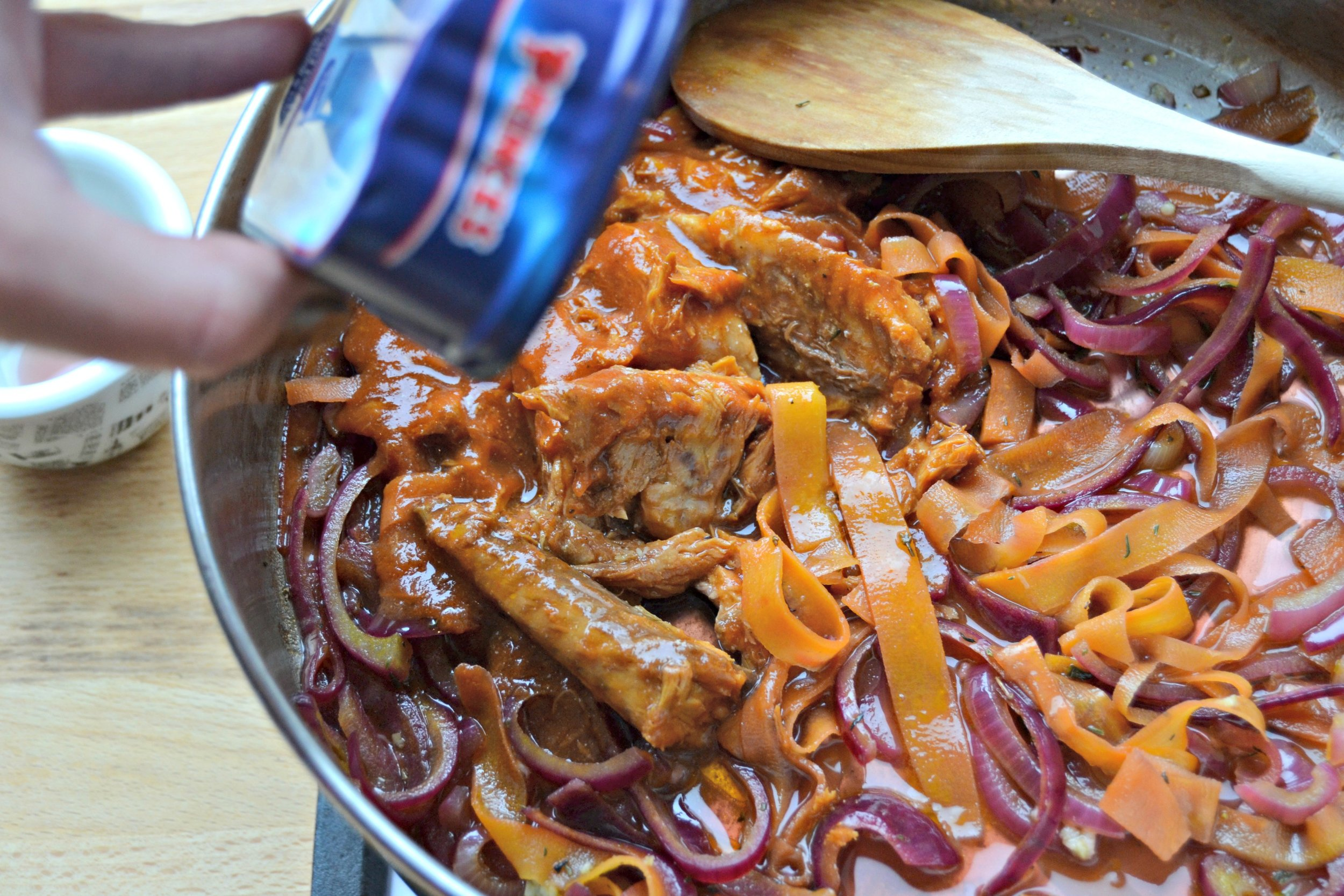 5.Open the can of Princes Mackerel in Spicy Tomato Sauce and add to the pan – the sauce and the fish.