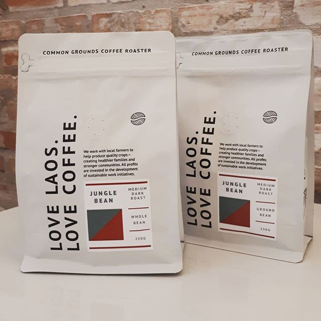 We are happy to introduce our beautiful new coffee bags which feature high quality beans from places like Xieng Khuang, Paksong, Houaphan. These beans offer unique and diverse flavor notes that provide options for a wide range of palates. Come be sure to pick up a few bags of our Jungle Bean  Medium Dark Roast (Xieng Khuang) to enjoy at home or work and with family and friends.