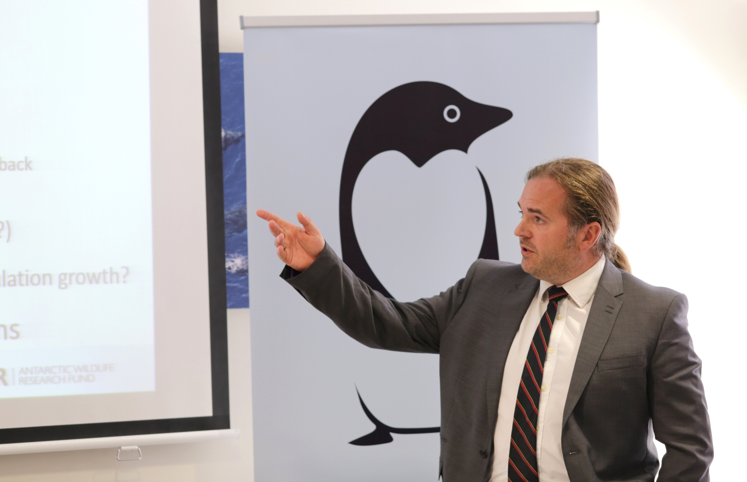 Andrew Lowther during the presentation of his research project on non-breeding penguins. Photo: Bob Zuur, WWF