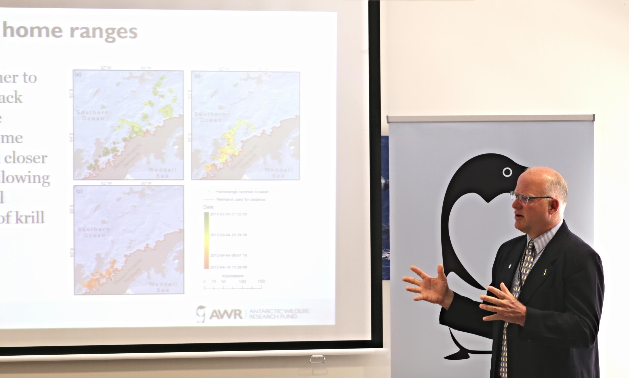 AWR's scientific advisor Rodolfo Werner presenting the project on behalf of Ari Friedlander. Photo: Bob Zuur, WWF