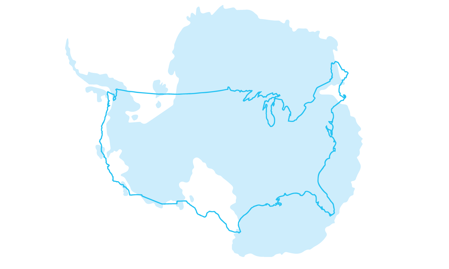 The size of U.S.A. compared to Antarctica