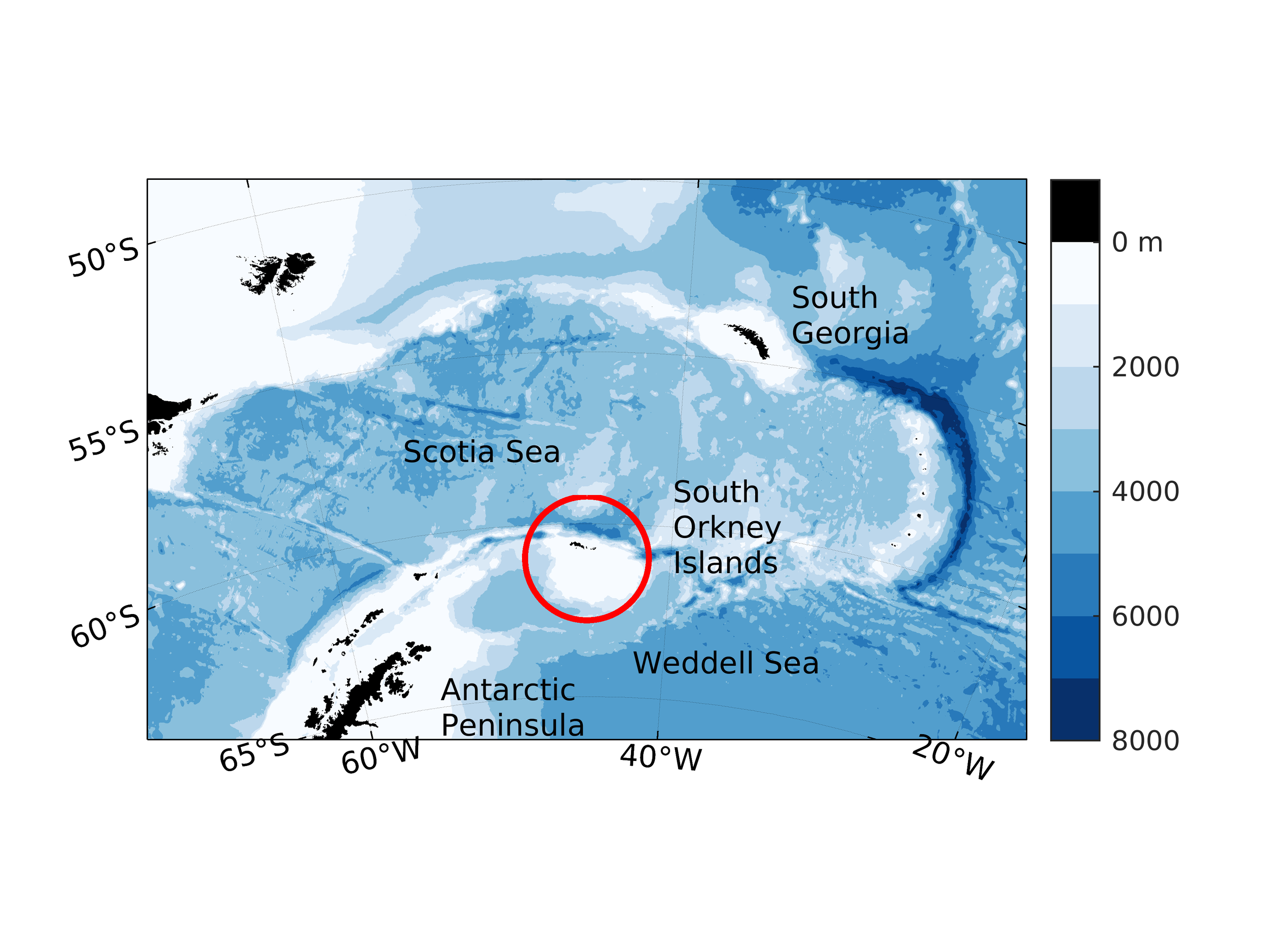 Map of the South Orkney Islands region.The colour scale shows the depth of the ocean from the GEBCO 2014 global dataset. Image: Sally Thorpe, British Antarctic Survey