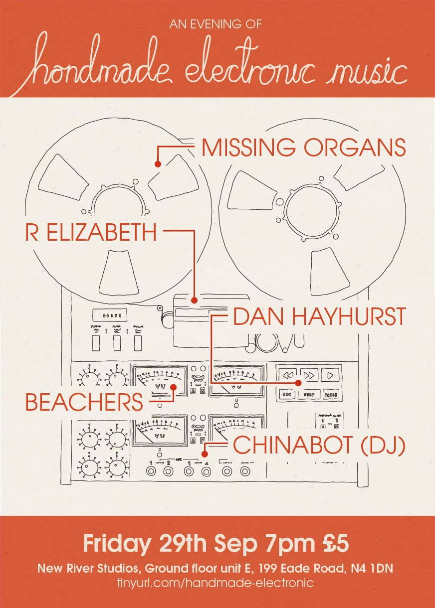 Very excited to announce that R Elizabeth will be performing at New River Studios on Friday 29th September with Missing Organs, Dan Hayhurst and Beachers. Quite the line up!  Also, if you haven't been before New River Studios is a great place run by wonderful people.    Come on by and say hi.    More details here:    https://www.facebook.com/events/791003051066870/
