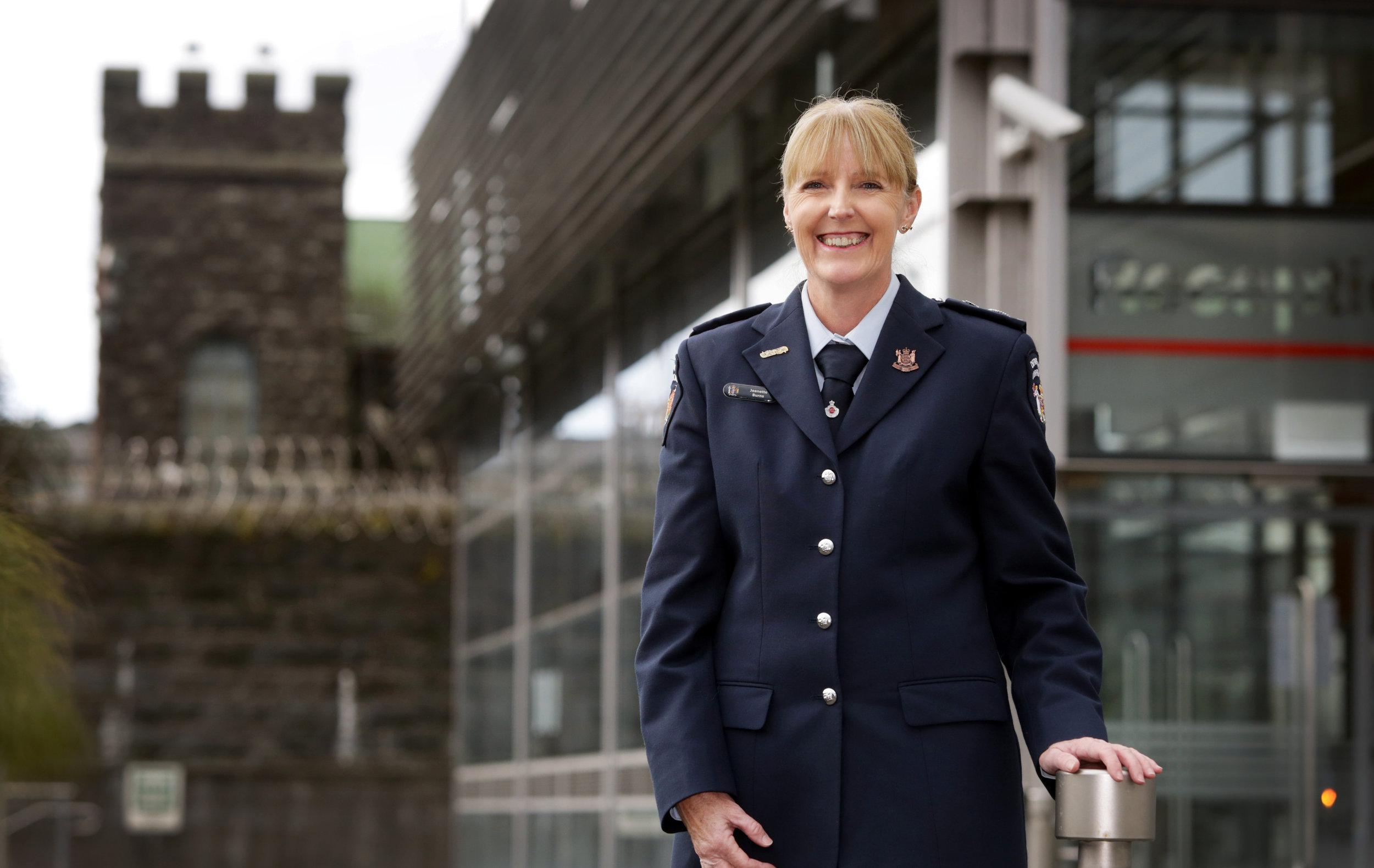 Jeanette Burns photo - in uniform outside MECF July 2016.jpg