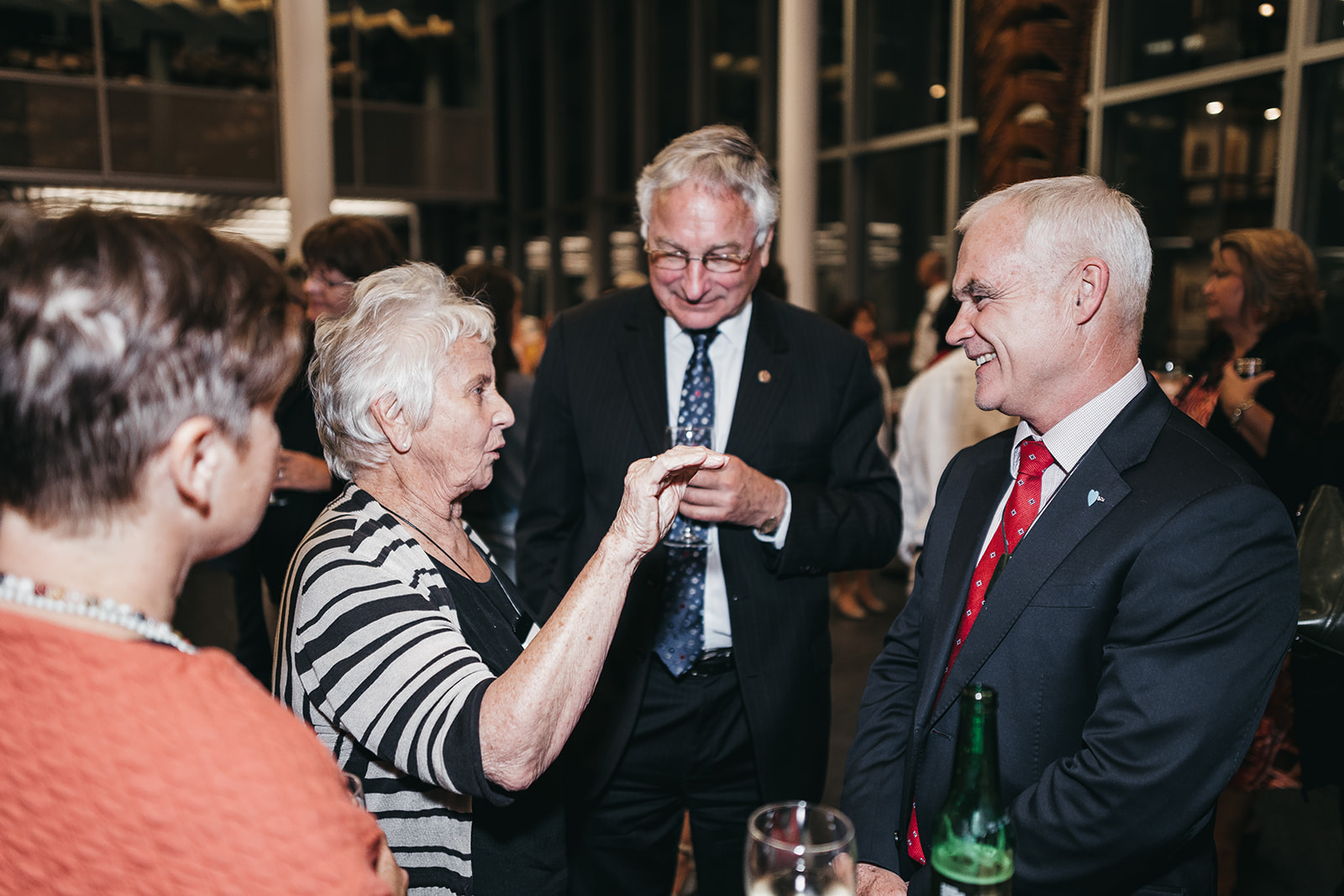 Beverley, Lady Reeves with Peter Garnett and Simon Moutter at The Reeves Lecture 2018 . Photo Credit:  Fata Tuialii Photography