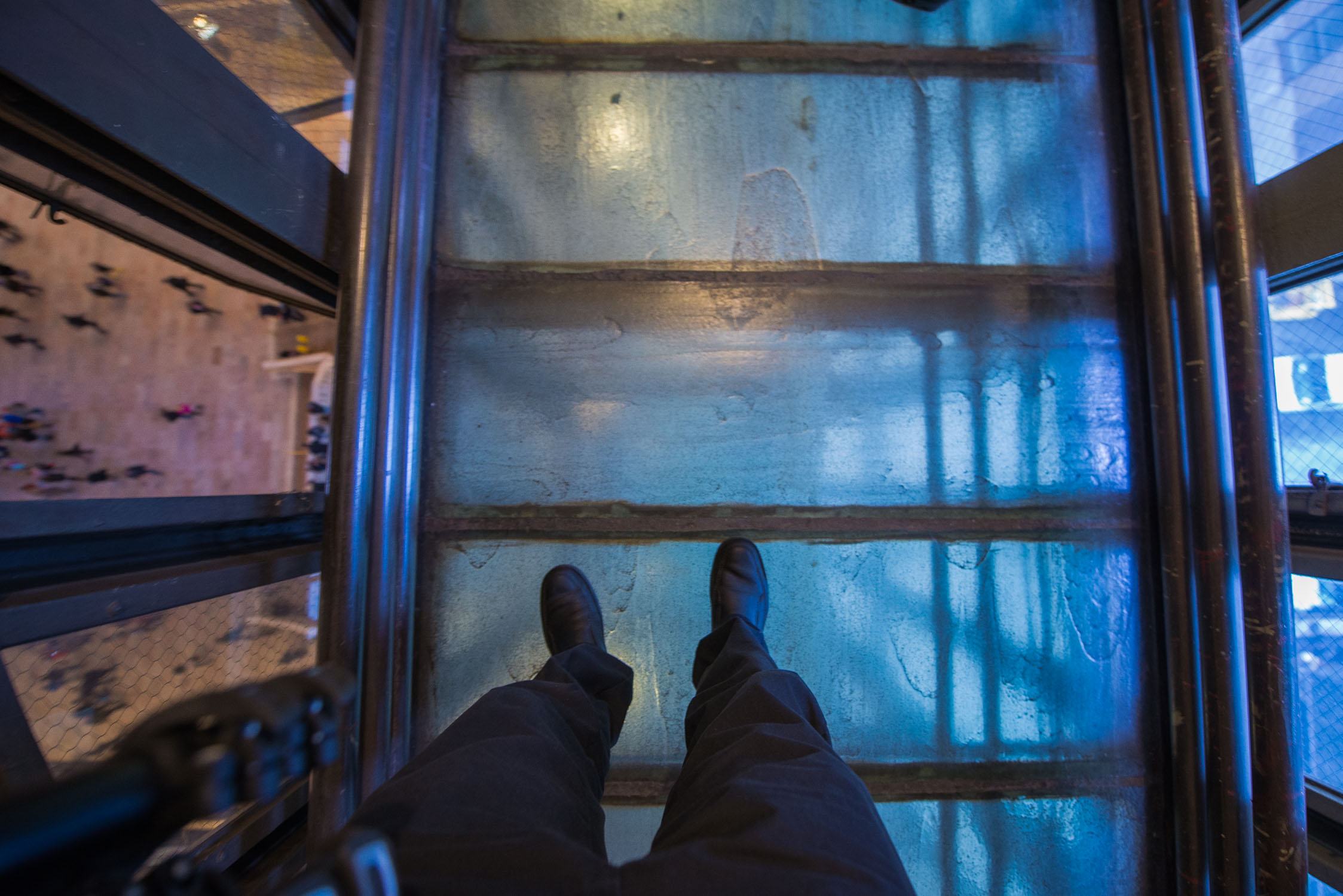 The famous glass catwalk.