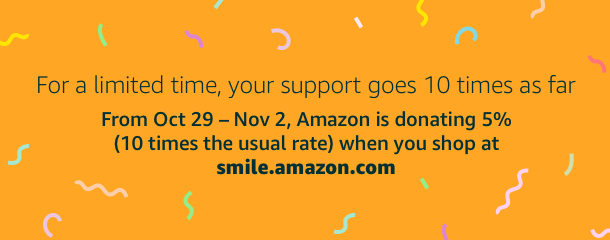 Through Nov 2, AmazonSmile is donating 5% (ten times the usual amount) to JustPay when you shop at    smile.amazon.com/ch/46-2697061   . #AmazonSmile #StartWithaSmile