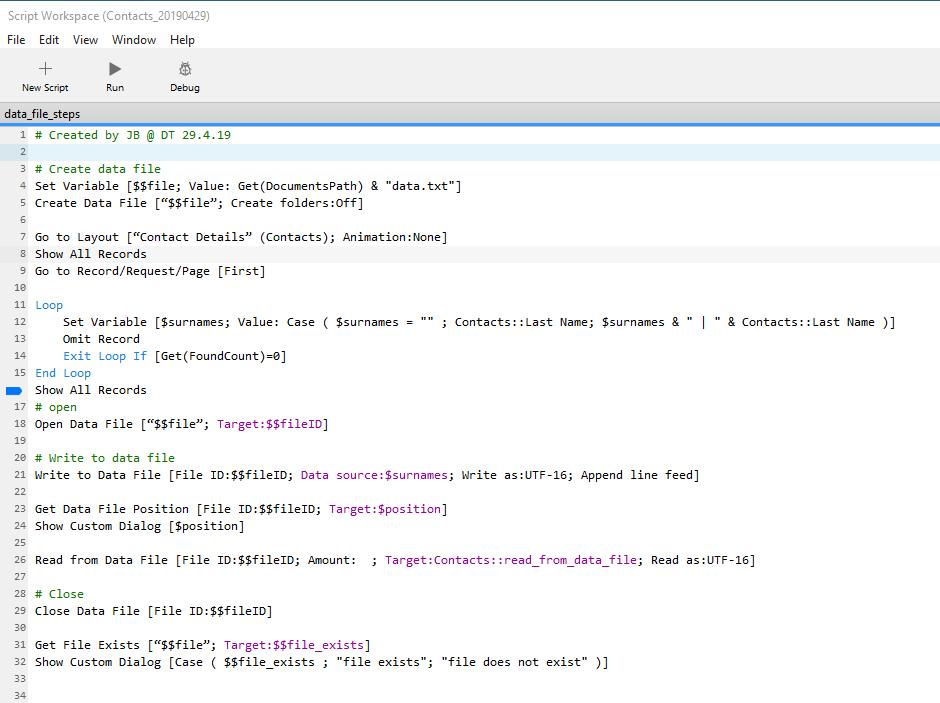 FileMaker 18 Data  file script steps