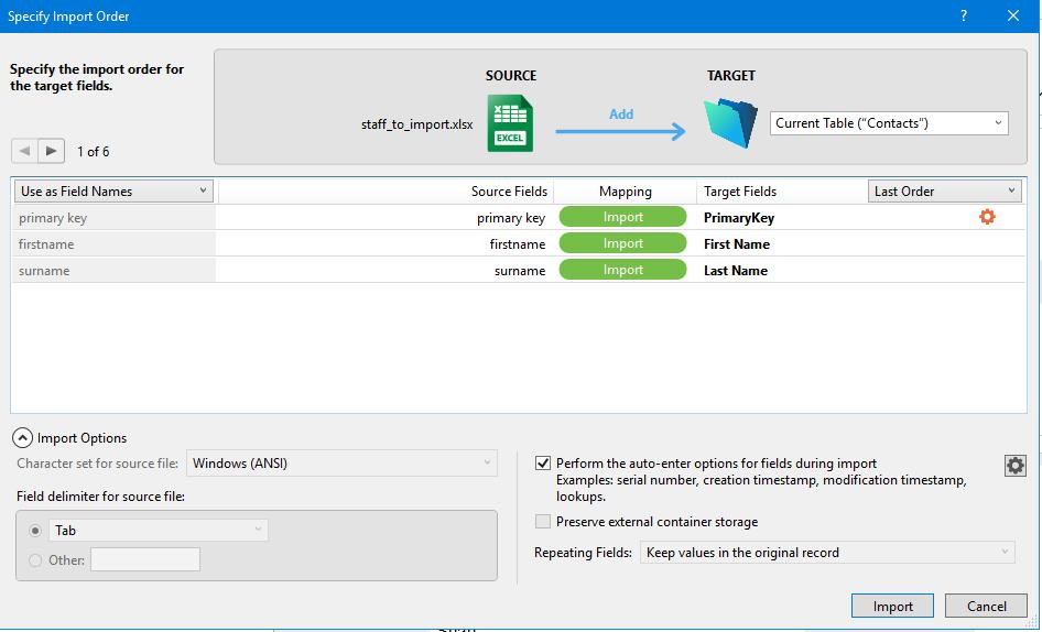 FileMaker 18 Improved Import Dialog