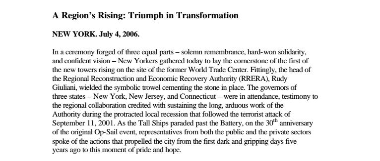 "Kelly, Hugh F. ""A REGION'S RISING: TRIUMPH IN TRANSFORMATION."" Real Estate Issues (Fall, 2001)."
